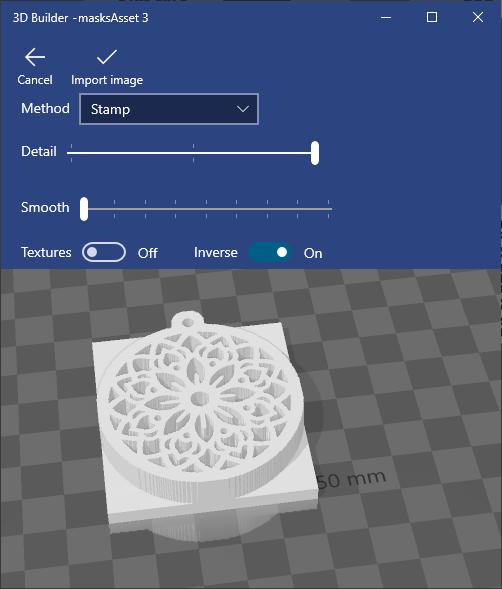 Stamp option in 3D builder